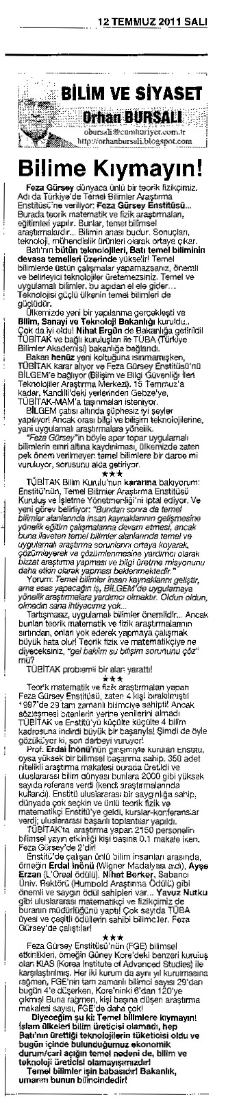 Cumhuriyet Orhan Bursalı Yazısı